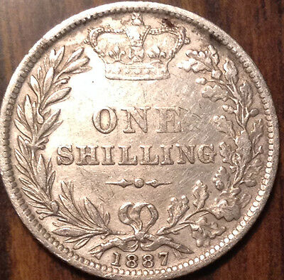 1887 Uk Gb Great Britain Silver Shilling In Great Condition !!