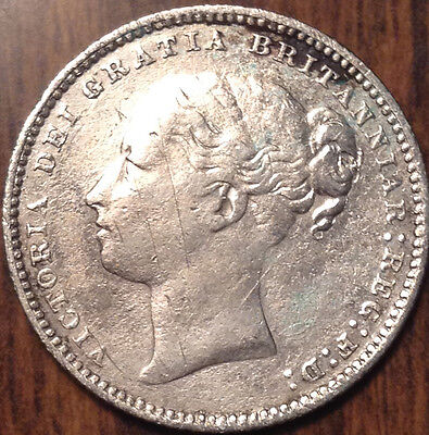 1881 Uk Gb Great Britain Silver Shilling In Great Condition !!