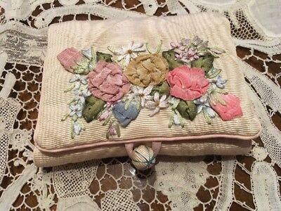 Mrs. Dulany's pin case with French ribbon trim flowers