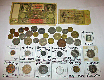 Foreign Coin & Banknote Lot! Germany 3rd Reich Nazi Coins! Old Coins! (29w)