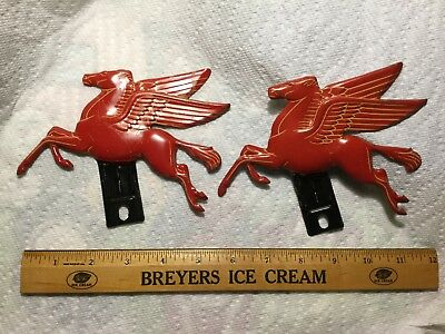 Pair Of Vintage Pegasus Mobil License Plate Toppers