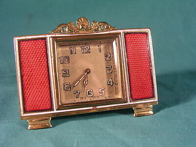 Mayer Germany Guilloche Enamel decorated Carriage / Travel / Desk Clock