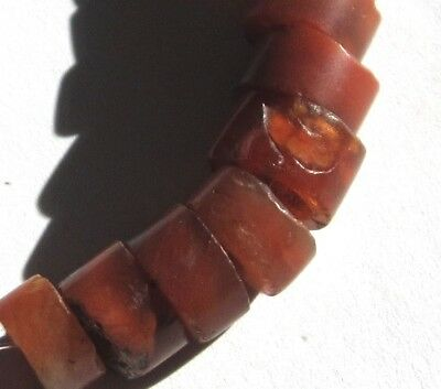 17 Rare Amazing Ancient Graduated Banded Carnelian Agate Eye Mali Disk Beads *