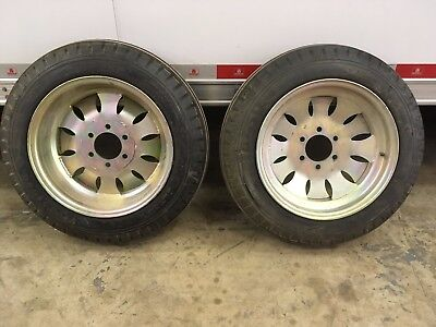 Vintage Sprint Car Weld Wheels Firestone Ribbed Front Tires Wheels Halibrand