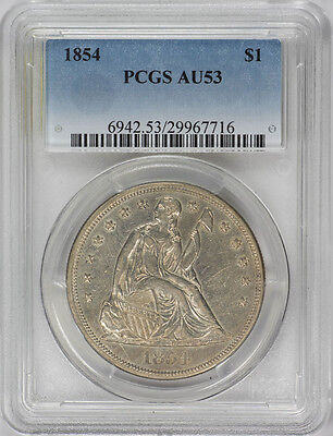 1854 $1 Liberty Seated Dollar PCGS Certified AU53