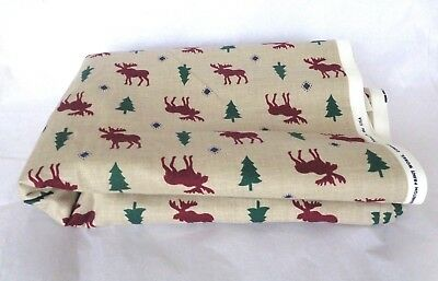 """4 Yards 7"""" CRANSTON Cotton Sewing Quilting FABRIC Material MOOSE & PINE TREE"""