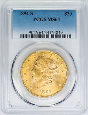 1894-S $20 Gold Liberty Head, Double Eagle - PCGS MS64 - US Rare Coin