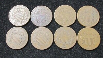 Lot of 8 Two Cent Pieces 1864-1871