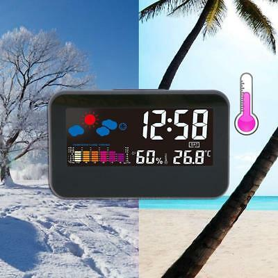 Electronic Digital Alarm Clock Weather Humidity Voice Controlled LED Backlight