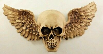 """Winged Skull Wall Sculpture Plaque Decor Horror Gothic Statue 15"""" L Wings"""