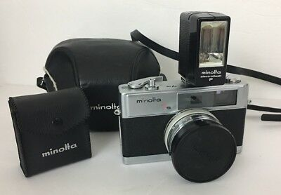 Minolta Hi-Matic 7s 35mm Rangefinder Camera with Lens Flash And Case