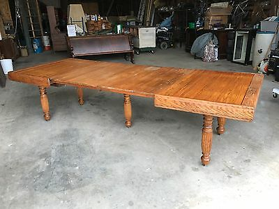"Antique Oak Dining Table ""ROLL TOP'"