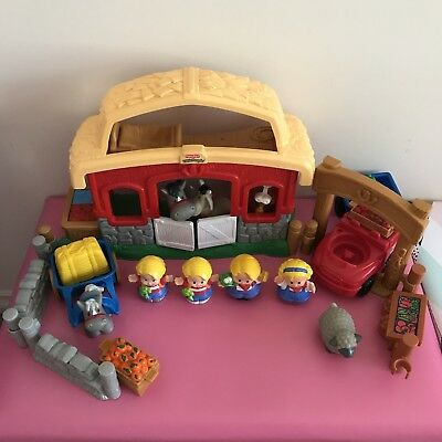 Retired Fisher Price Little People Barn Farm with Truck Animals Playset