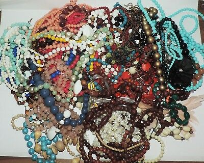 Large Lot Of Assorted Vintage Mod Mix Beaded Necklaces
