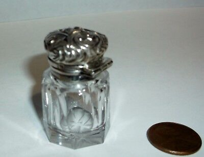 Tiny Sterling Top Glass Dresser Jar With 4 Hallmarks In Wonderful Condition