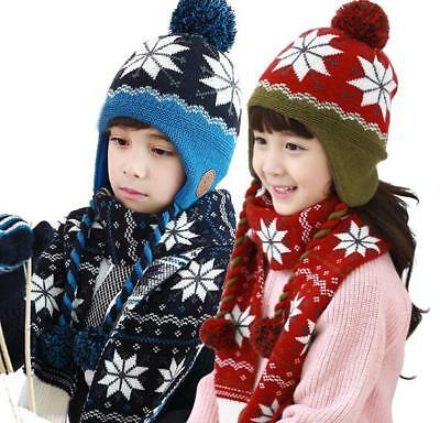 Children's hats scarves two sets of knitted wool hat boys and girls warm autumn