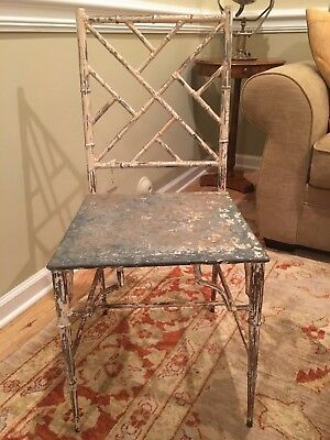 Antique ENGLISH Chippendale FAUX BAMBOO Iron Side Chair REGENCY CHIC