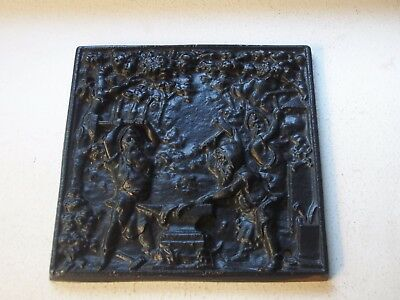 Cast Iron Elves Gnomes at the Anvil Plaque