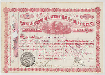 SAINT JOSEPH and WESTERN RAILROAD COMPANY. 1880. Issued/Cancelled/Transferred.