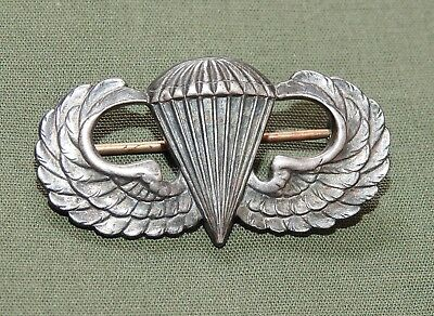 US Army WW2 PARATROOPER AIRBORNE STERLING SILVER PIN-BACK JUMP WINGS Vtg Badge