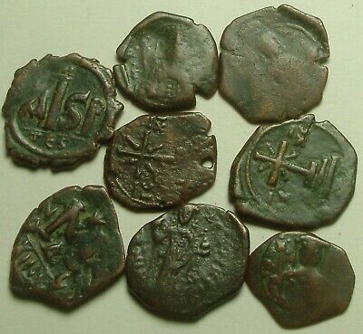 One Rare ORIGINAL ancient BYZANTINE coin Half terarteron Christ cross St george