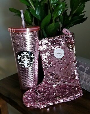 Starbucks 2017 Holiday Cold Cup 24oz Tumbler Rose Gold Pink Sequin Limited *HOT*