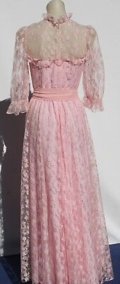 VINTAGE 1970S FORMAL DRESS LACE and Taffeta size 8  Slim line Party Time FUN