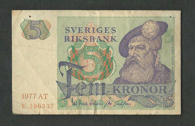 Sweden 1977 5 Kronor P 51d Circulated