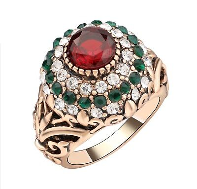 Women Turkish Ring Red Stone Gems Ottoman Jewelry Handmade Ancient Gold Plated 8