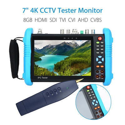 "7"" 4K CCTV IP Tester Monitor 8GB HDMI SDI AHD CVBS Camera PTZ Test WIFI Onvif Uk"