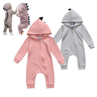 AU Newborn Baby Boy Girl Dinosaur Hooded Romper Bodysuit Playsuit Outfit Clothes