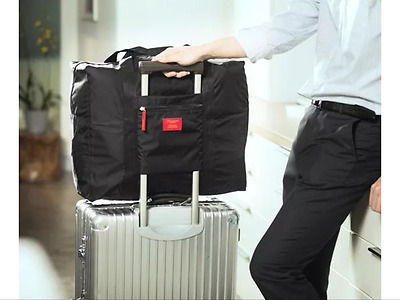 BLACK Carry on Airport Luggage Waterproof Space Saver Foldable