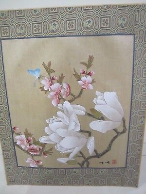 Vintage Chinese Hand painting on silk, Japan Import