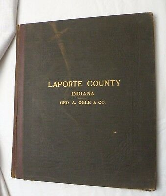 1921 STANDARD ATLAS OF LAPORTE COUNTY Indiana PLAT BOOK, Original HB, VG!