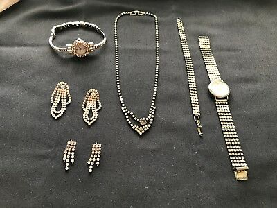 6 Piece ~ Lot Of Vintage Antique Rhinestone Necklace Bracelet Earrings Watches