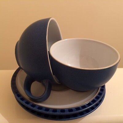 DENBY REFLEX - x 2  LARGE BREAKFAST CUPS & SAUCERS (WHITE INNER)