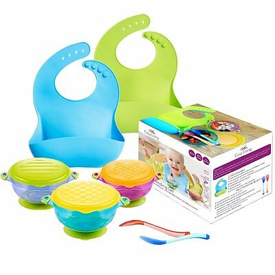 Baby Suction Bowls Feeding Set, Spill Proof with Snap Tight Lids. Plus 2 Silicon
