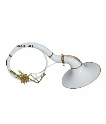 """HALLOWEEN SPECIAL SOUSAPHONE 21"""" BELL Bb PITCH WITH FREE BAG AND MP, WHITE COLOR"""