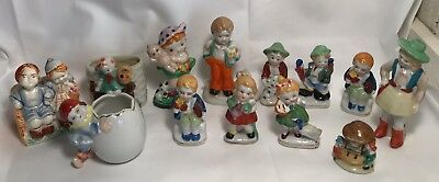 LOT of 13 Vintage Boy and Girl Figurines Occupied Japan Planter Cowgirl Children