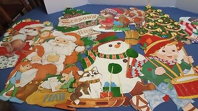 Vintage Holiday Christmas Cardboard Cut-Outs Wall Decorations