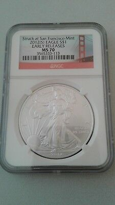 2012(s) American Silver Eagle MS70 NGC early releases stuck at SF bridge label
