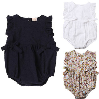 AU Stock Newborn Baby Girls Bowknot Romper Hollow Out Jumpsuit Bodysuit Clothes