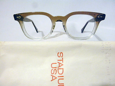 Vintage American Optical Hybrid Stadium Brown 44/20 Men's Plastic Eyeglass Frame