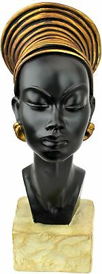 African Woman Queen Nubian Kandake Sculpture Statue Figurine Bust In Headdress