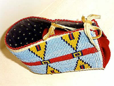 Beaded Miniature Papoose Board By Marcus Dewey Arapaho Tribe Beautiful!!!