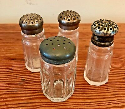 Antique Salt Shakers Silver Plate tops, group of 4