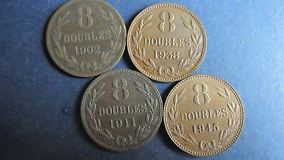 Guernesey Lot 8 Doubles 1902, 1911, 1938, 1945 in ss bis vz (N99)