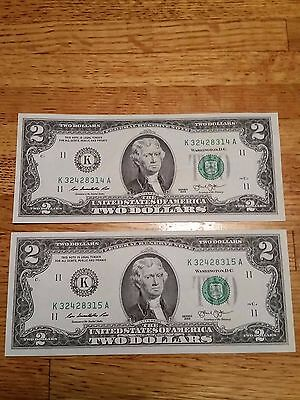 2 Consecutive 2 Two Dollar Bills 2013 - Two Sequential Federal Reserve Notes