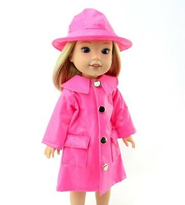"Pink Raincoat and Hat Fits Wellie Wishers 14.5"" American Girl Clothes"