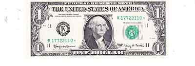 us currency  federal reserve 1963a 1.00  star note  consecutive k block unc